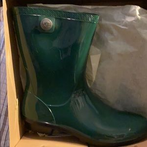 Brand new in box, green rain boots
